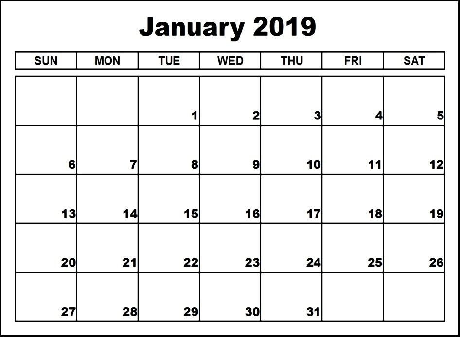 January Calendar 2019 Template Custom January 2019 Calendar