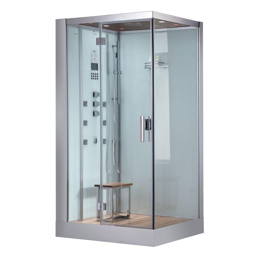 Ariel 47 in. x 35.4 in. x 89.1 in. Steam Shower Enclosure Kit in ...
