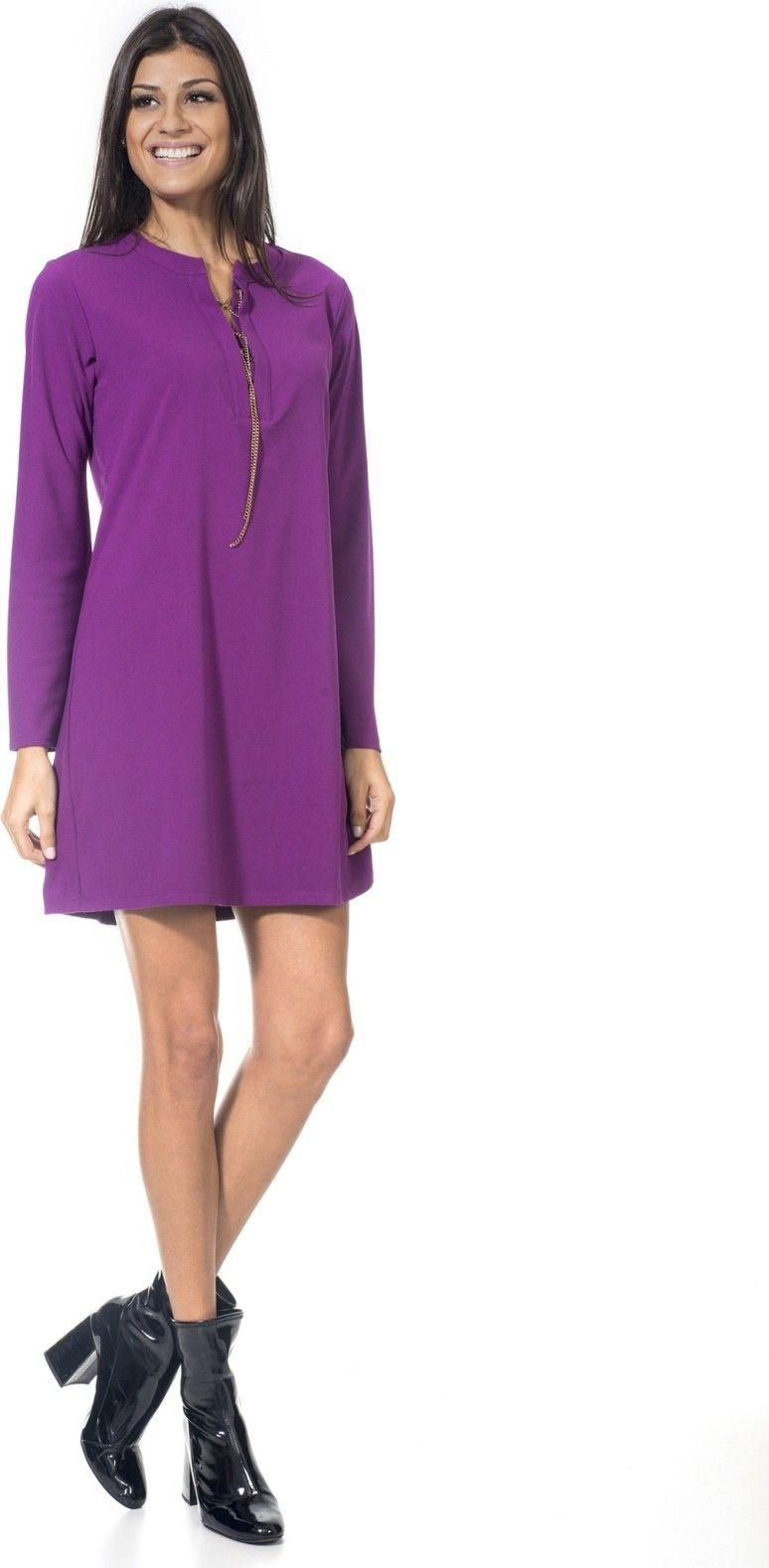eb1ce33c7c425 Vestido camisa. como usar vestido e bota. vestido de outono. vestido roxo.