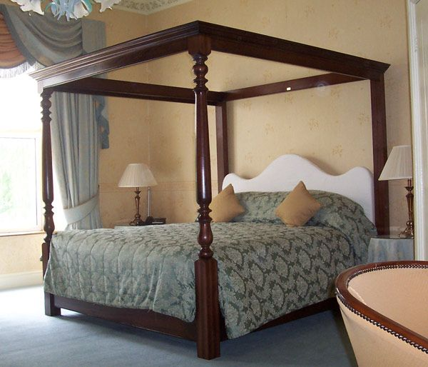Standard Mahogany Upholstered Juniper Four Poster Bed & Standard: Mahogany Upholstered Juniper Four Poster Bed | Beds and ...