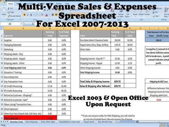 Multi-Venue Sales and Expenses Spreadsheet, Summarizes Etsy  Paypal - sample spreadsheet