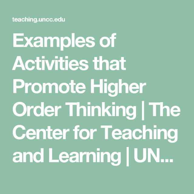 Examples Of Activities That Promote Higher Order Thinking The