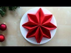 Servietten falten Anleitung: Stern für Weihnachten basteln - Weihnachtsdeko - Tischdeko