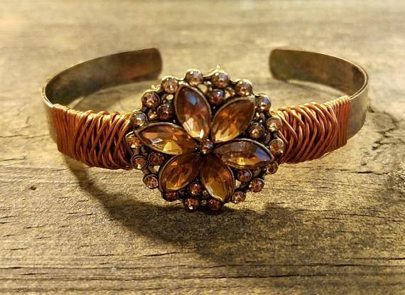 with adjustable antique oval setting copper filigree bracelet