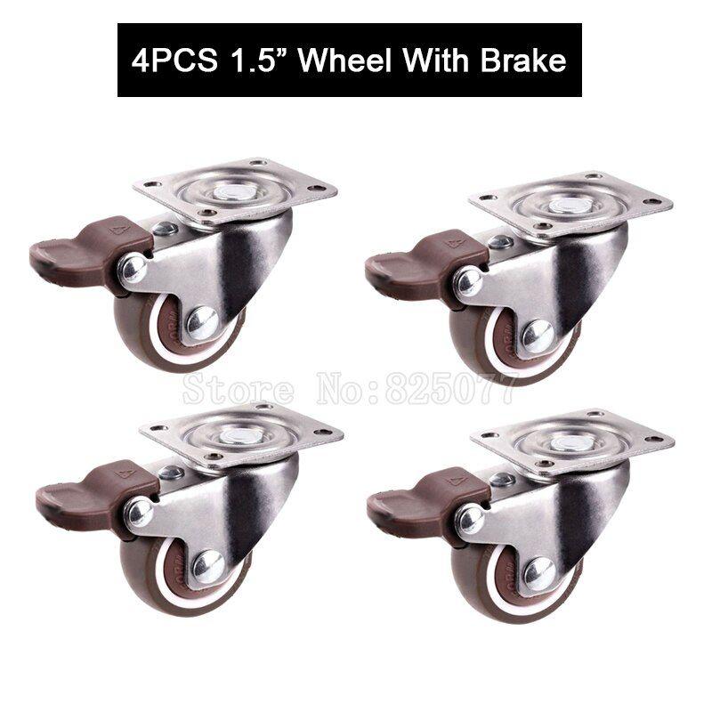 Brand New 4pcs 1 5 Swivel Furniture Casters With Brake Platform