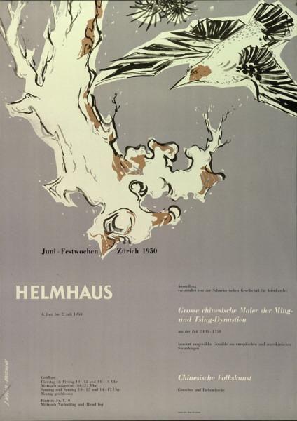 Juni-Festwochen Zürich 1950 - Helmhaus - Grosse Chinesische Maler der Ming- und Tsing-Dynastien - Chinesische Volkskunst-Plakat