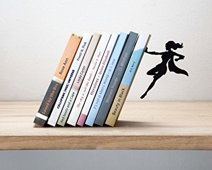 Artori Design Quot Supergal Quot Black Metal Female Superwoman Bookend Unique Bookends Gifts For Girls Gifts For Book L Unique Bookends Bookends Superhero