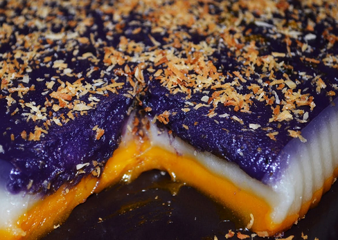 this filipino rice cake is famous for its 3 colored layers that