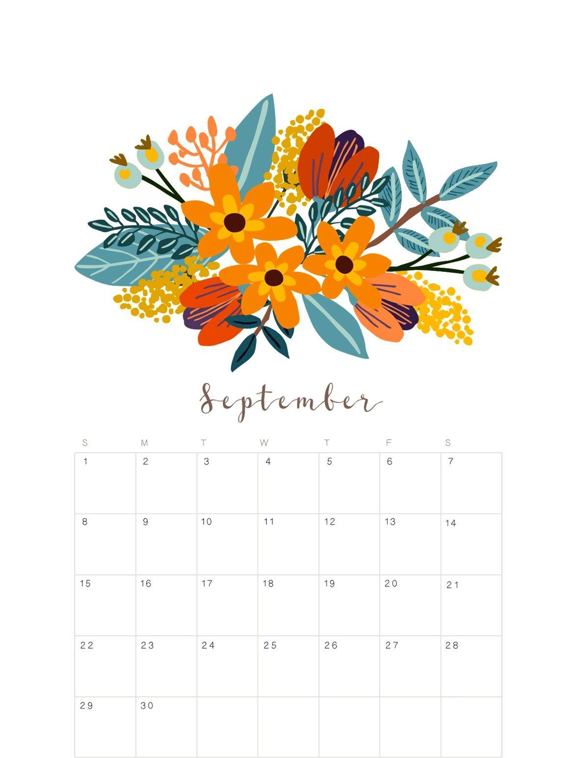 September 2019 Calendar Cute Print Calendar Calendar Printables