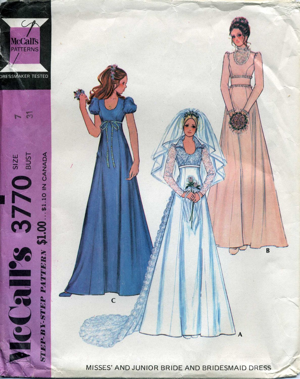 McCall\'s 3770, Wedding Dress Pattern, boho, hippie style, early ...