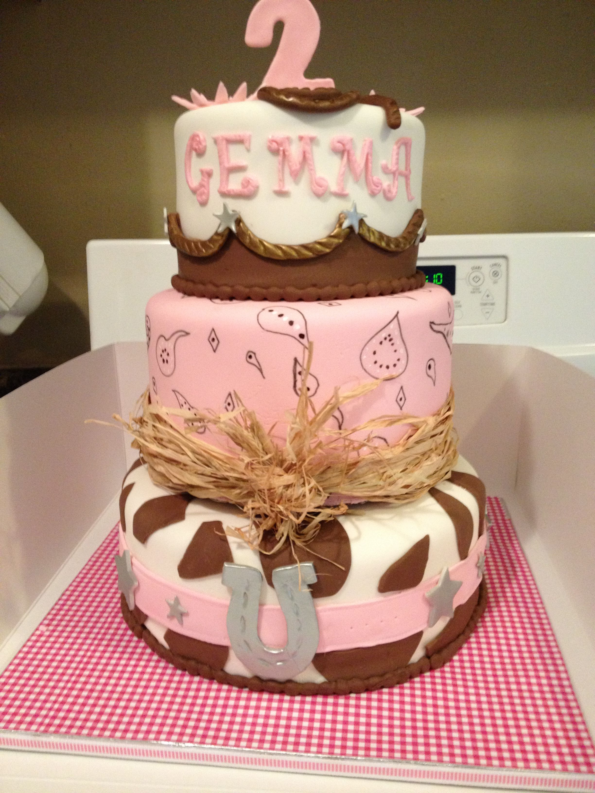 Miraculous Created By Litl D Cakes Cupcakes Little Cowgirl Cake With Personalised Birthday Cards Bromeletsinfo