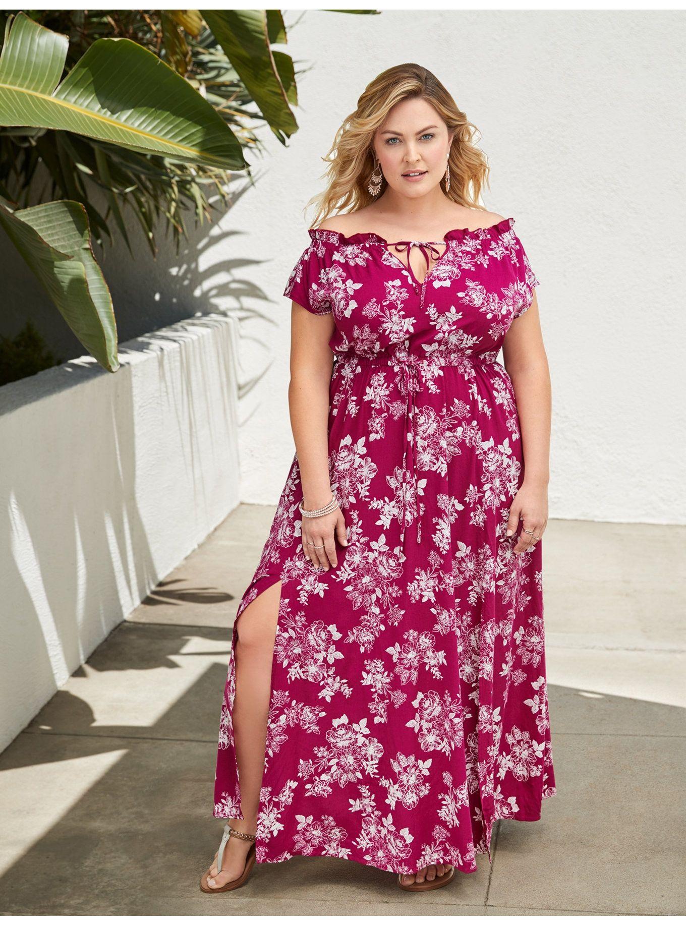 2e6f4f0c331 Berry Floral Challis Slit Maxi Dress in 2019