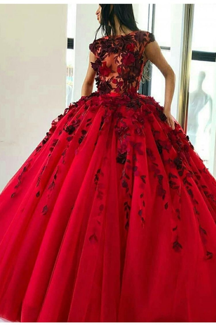Red ball gown prom dress with dark red appliques floor length tulle