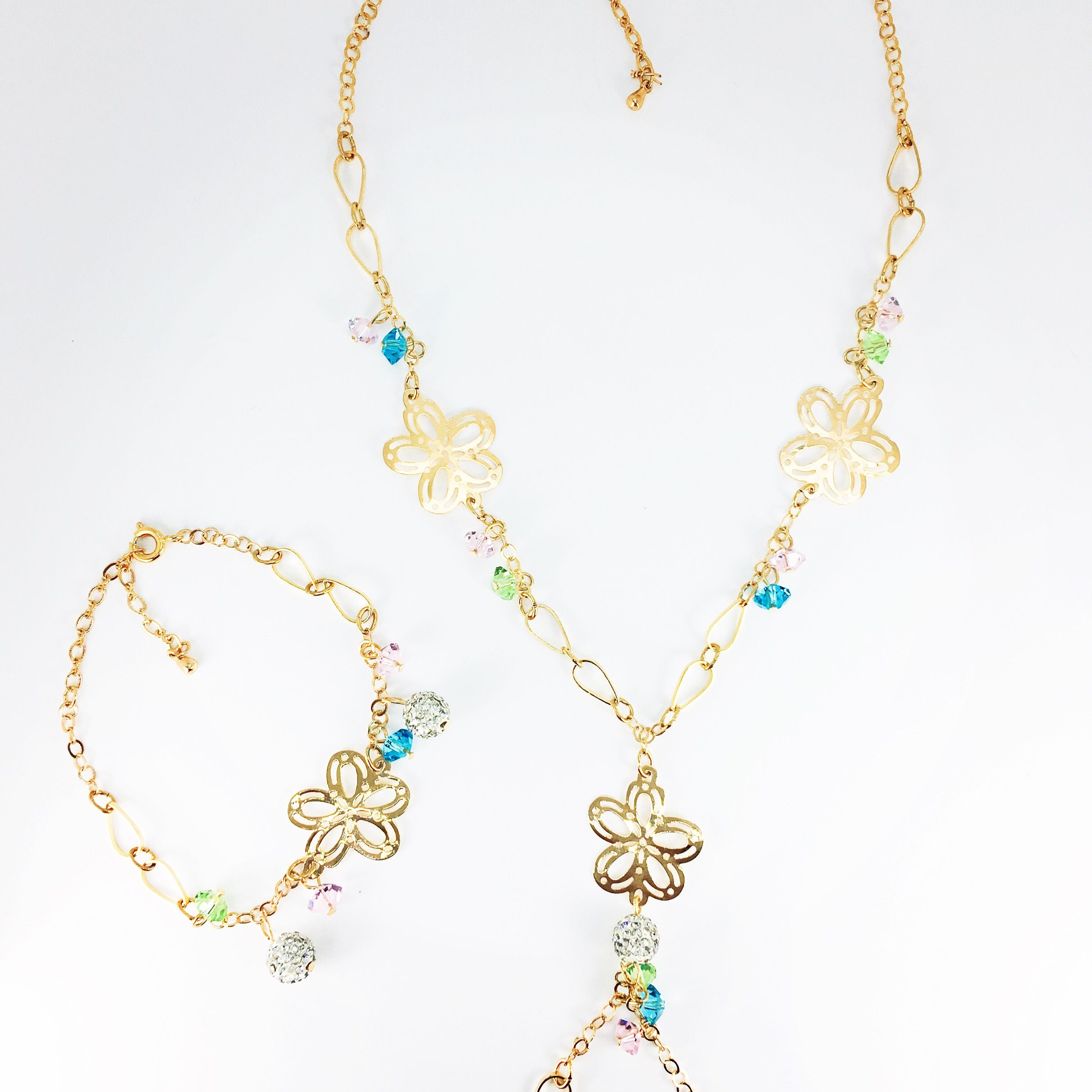 K gold plated flower necklace and bracelet set jewelry sets