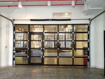 Ny Loft Black Aluminum Garage Door Clear Glass With Passing Door Contemporary Garage Doors And Openers Glass Garage Door Contemporary Garage Doors Garage Door Panels