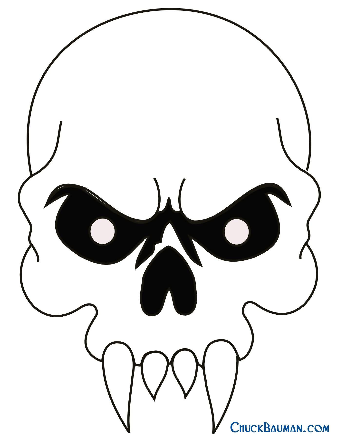 Simple Black Outline Vampire Skull Tattoo Stencil Easy Skull Drawings Skulls Drawing Skull Stencil