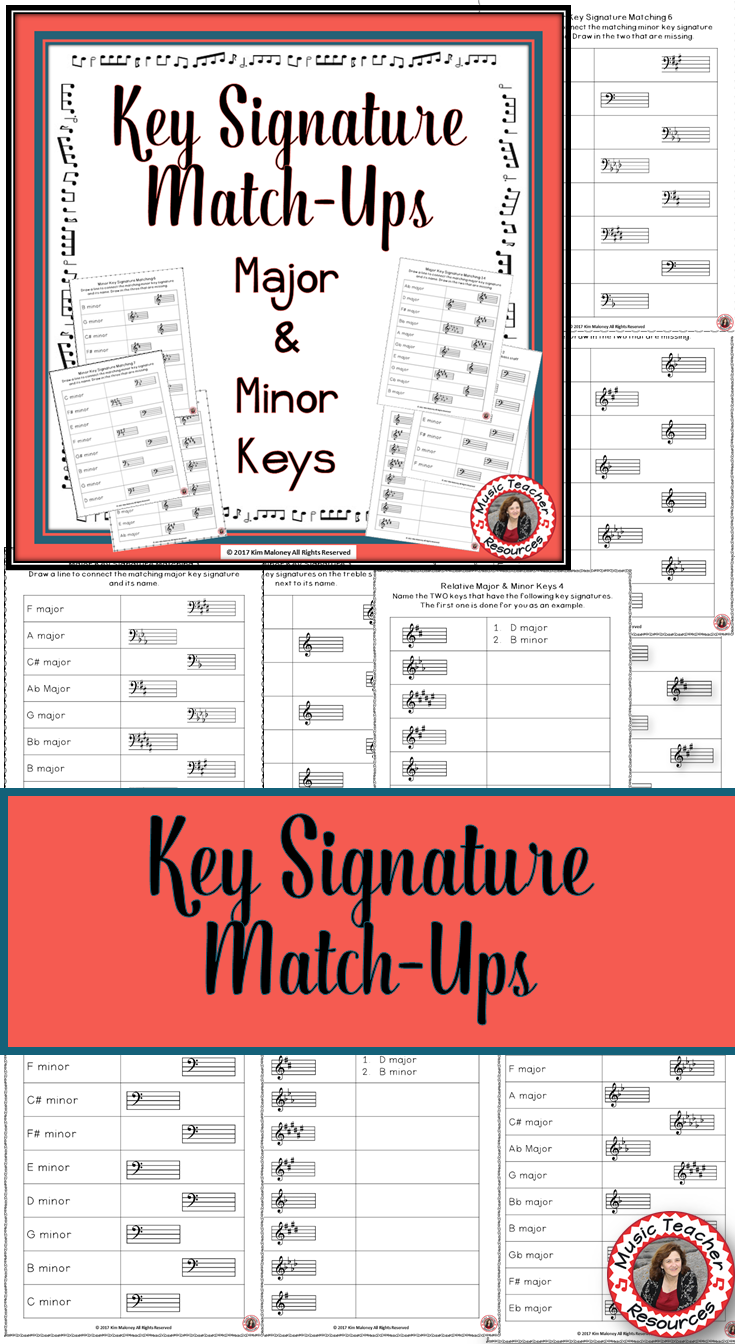 Key Signatures Worksheets Match Up Music Game Pinterest Music