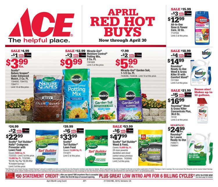 Ace Hardware sale ad April 1 - 30, 2017 - http://www.olcatalog.com/home-garden/ace-hardware-ad.html