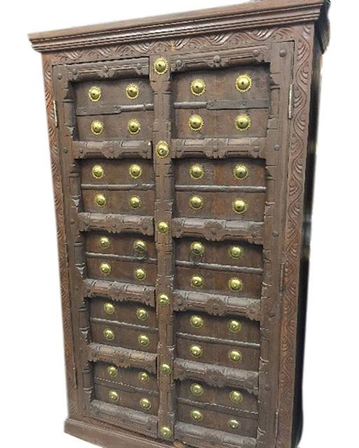 Antique cabinet old door brass armoire hand carved indian storage ...