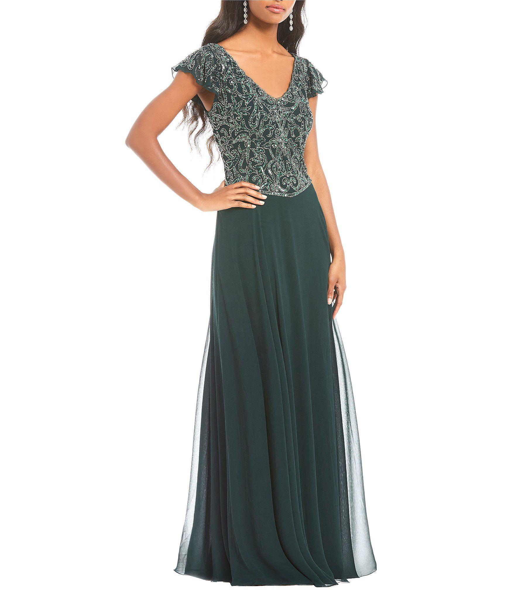 Shop for Jkara V-Neck Flutter Sleeve Gown at Dillards.com. Visit ...