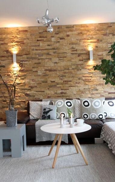 BEE OR NOT BEE Steinwand, Grau und Wohnzimmer - wohnzimmer mit steinwand grau
