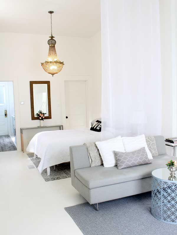9 Super Stylish Studios That Prove One Room Is Enough Studio Apartment Divider Apartment Layout Tiny Studio Apartments