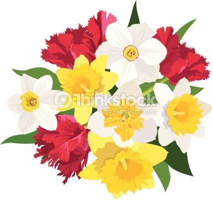 Vector Art : Spring flower bouquet.
