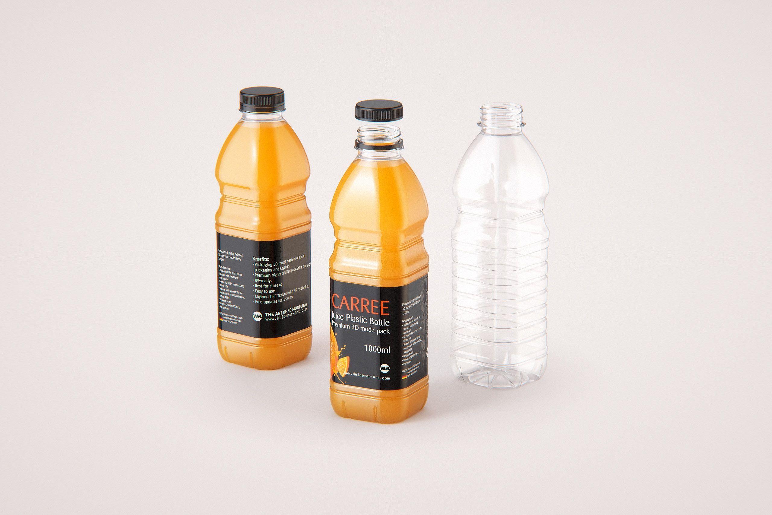 Carree Juice PET Plastic Bottle 1000ml packaging 3d model
