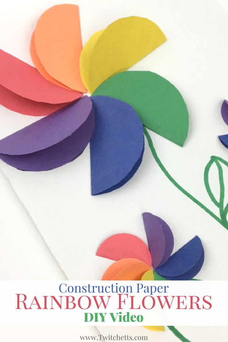Construction paper rainbow flowers video pinterest rainbow check out this paper flower tutorial video these rainbow flowers are fun and easy to make perfect for handmade cards mightylinksfo
