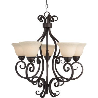 Darby Home Co Amelia 5 Light Shaded Chandelier Finish: Oil Rubbed Bronze