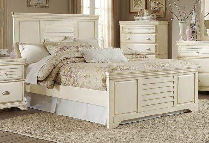 Antique White Cottage Panel Bedroom Furniture - Laurinda (E King Bed ...