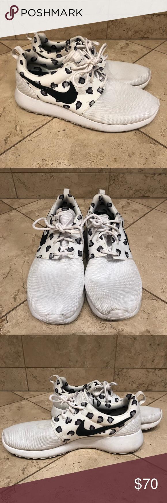 Nike Roshe Run White Leopard Print Sneakers Leopard