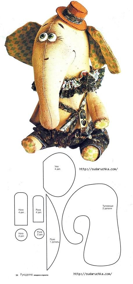 Pin de Ruway Arte en Animales en tela | Pinterest | Elefantes, Tela ...