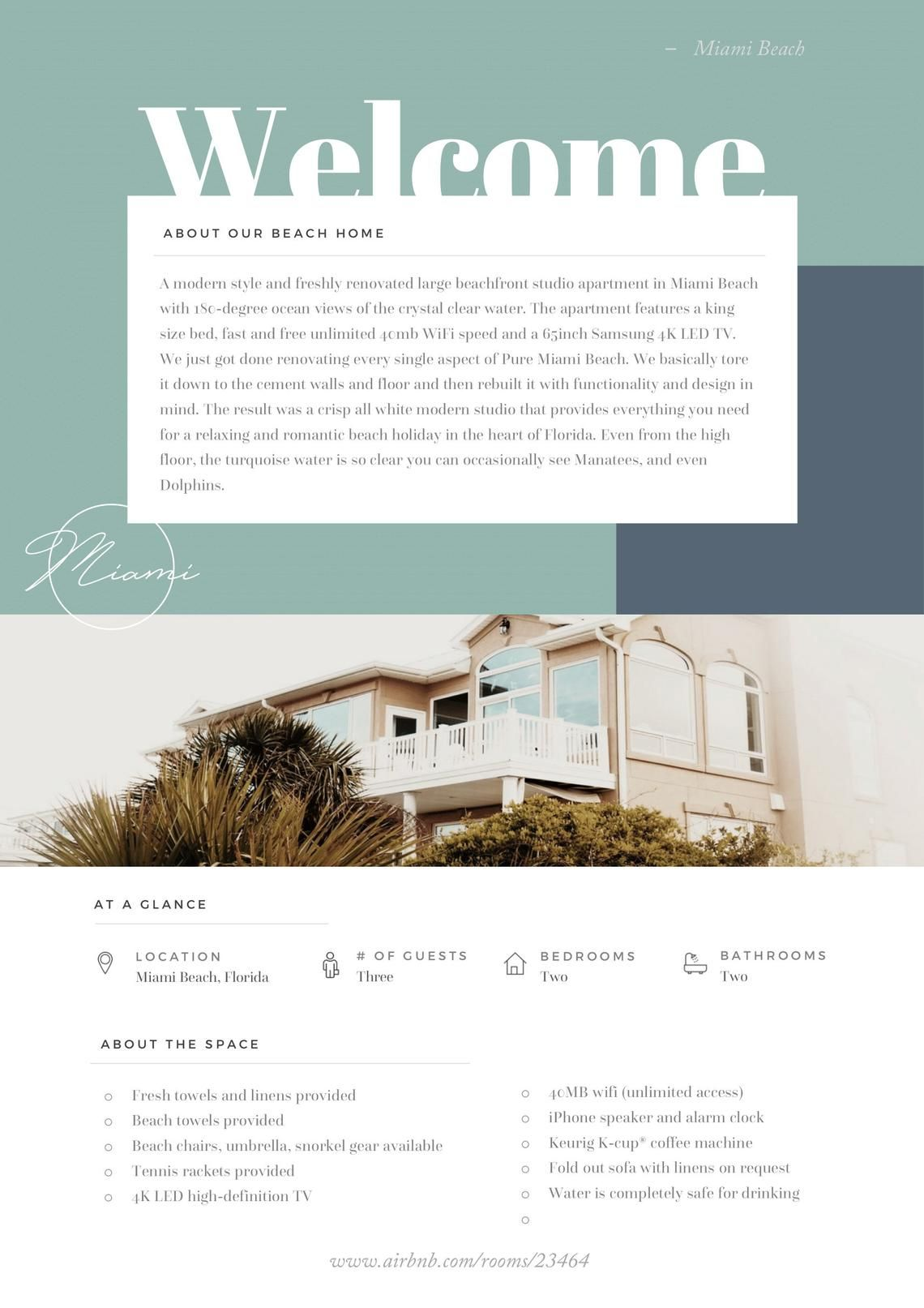 Home Rental Welcome Book Template Microsoft Word Template Etsy