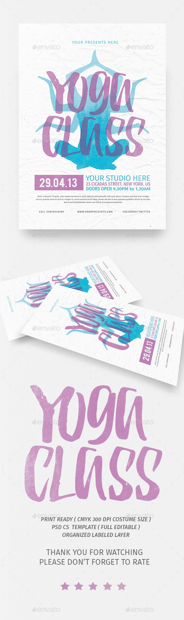 yoga class event flyer poster template fitness events psd yoga class flyer template only available here ➝ graphicriver