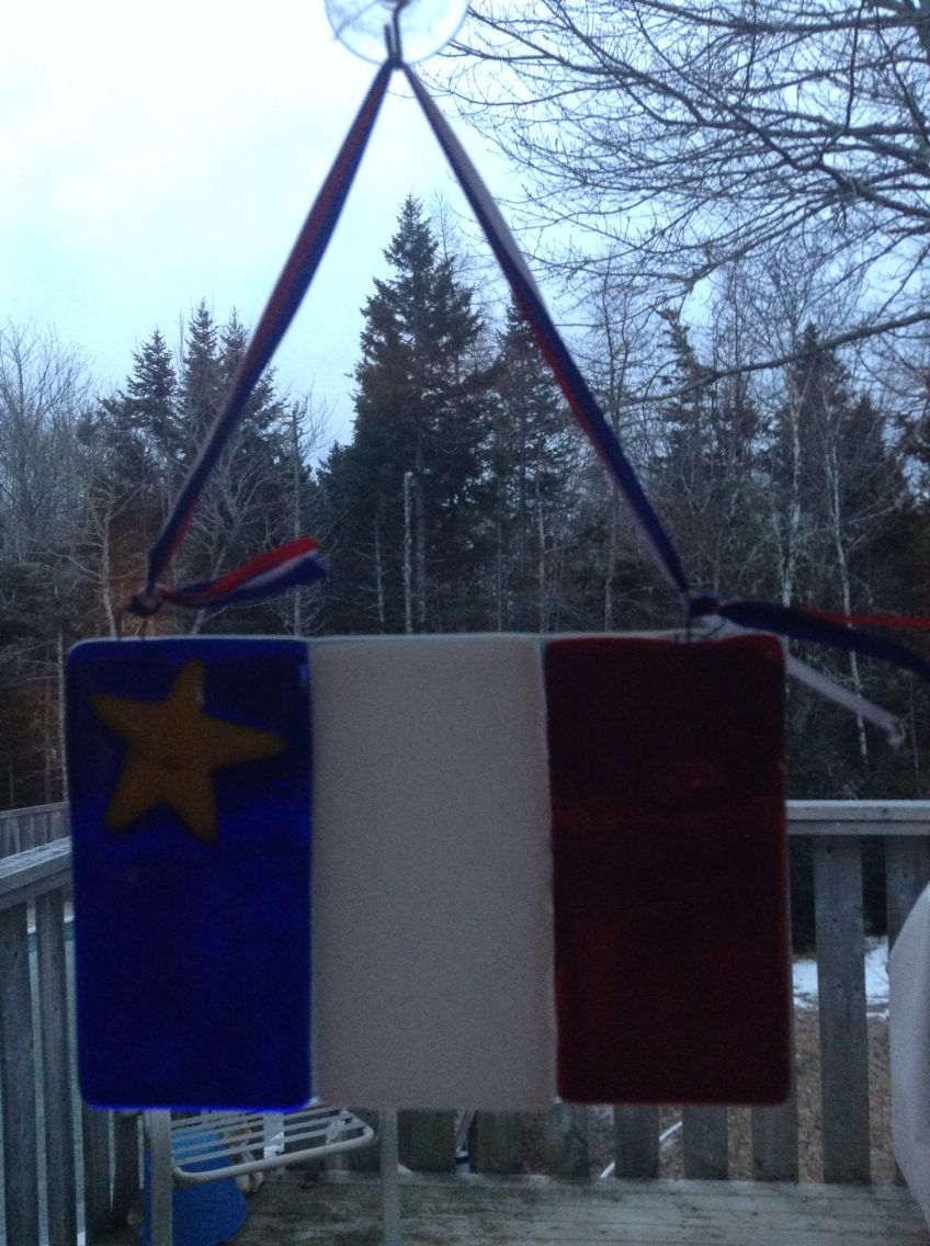 Acadian flag! I made fused glass.