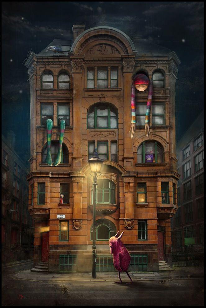 """Nightmare On Dale Street"" Manchester, England  #matyldakonecka  #Manchester  #dalestreet  #illustration  #art  #fantasy"
