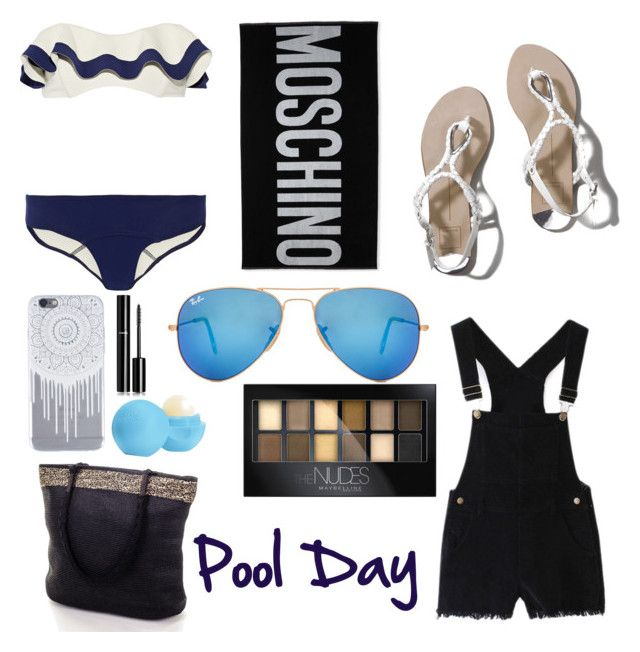 """""""Pool day"""" by autumntaylor15 ❤ liked on Polyvore featuring Lisa Marie Fernandez, Abercrombie & Fitch, Moschino, Ray-Ban, Eos, Chanel and Maybelline"""