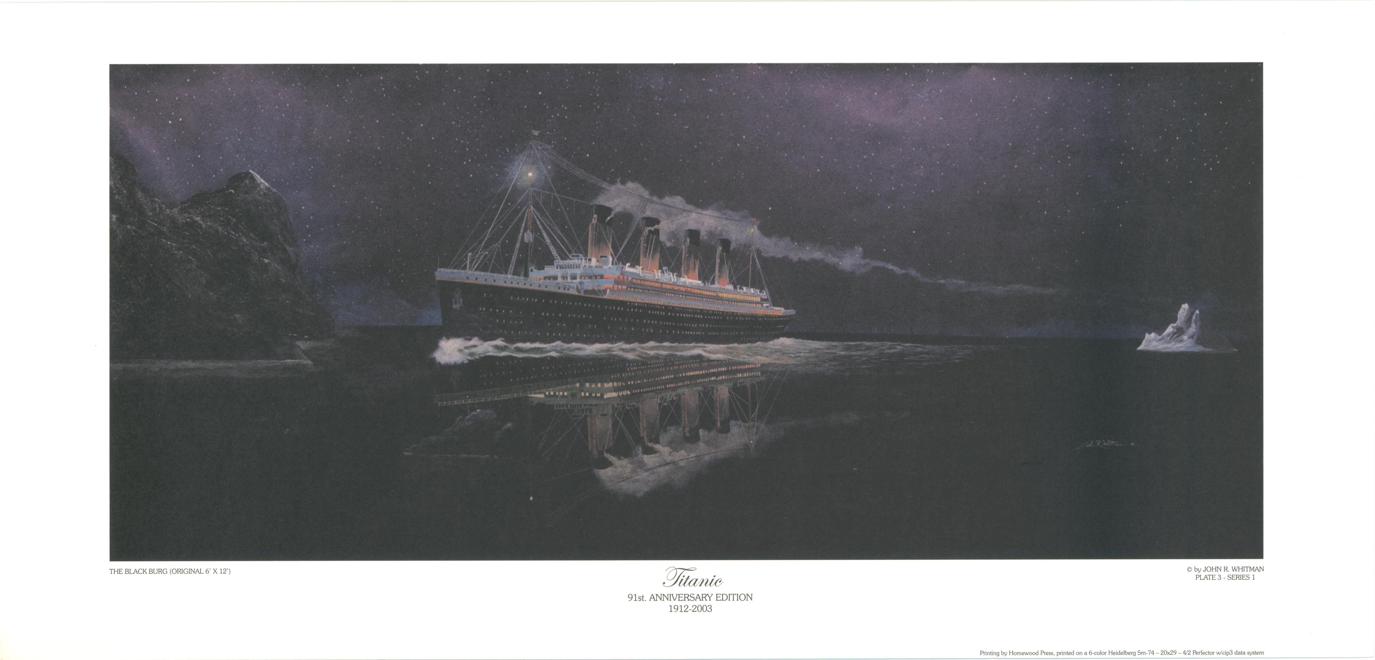 How the 'blackberg' was envisioned by an illustrator.  A blackberry, greenberg or blueberg is an iceberg that is difficult to see because it is clear. These are more common in April when the icebergs melt. Yet another reason, ignoring iceberg warnings in order to make record speed was such a brilliant idea. #Titanic #History