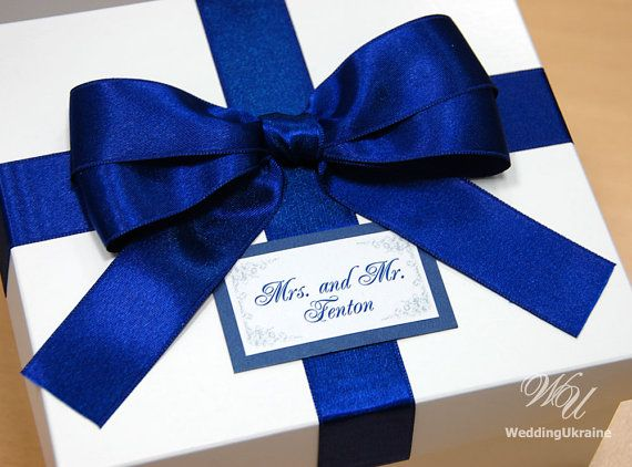 Elegant Mr & Mrs Favor Gift Box With Blue Satin Ribbon