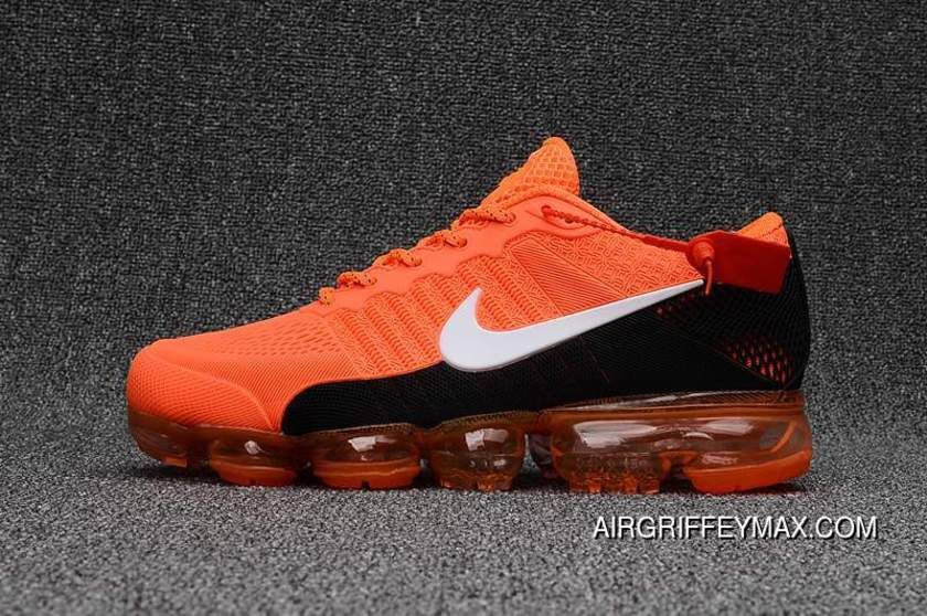 2018 Nike Air Vapormax Flyknit Bright Orange Black New Release in ... 9c1a75eeb