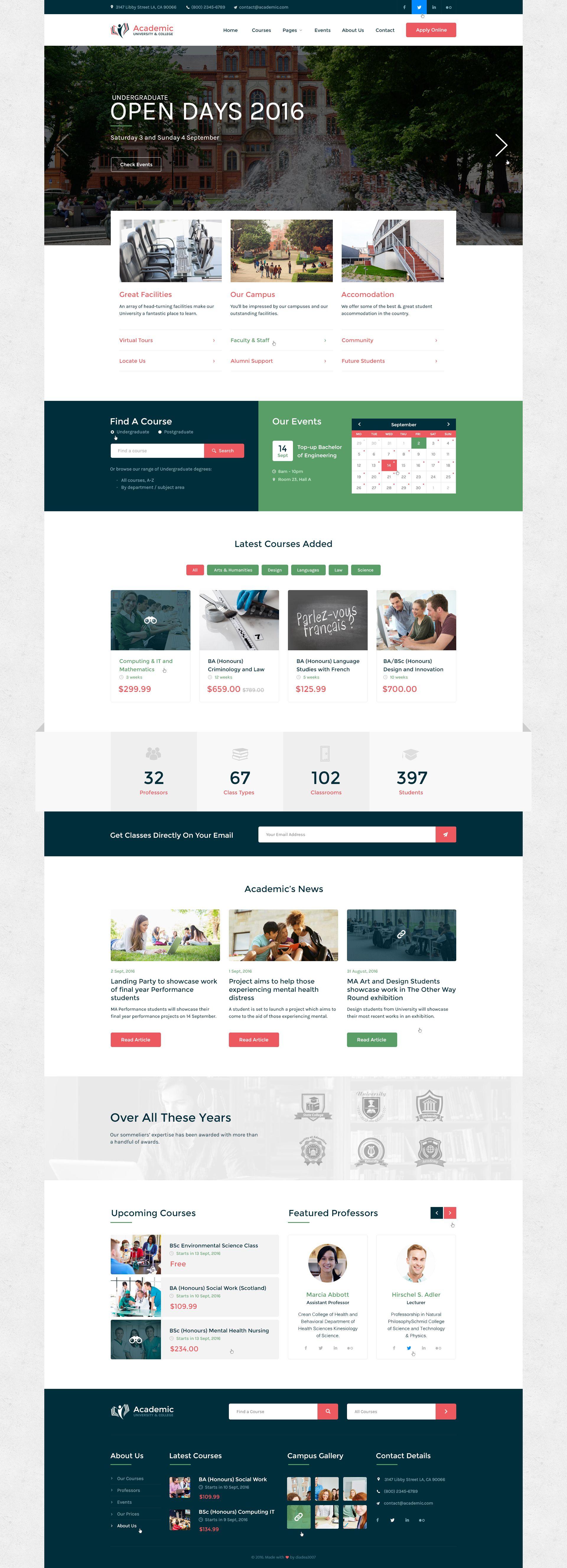 Academic University College Psd Template University Website Education Design Website Design Layout