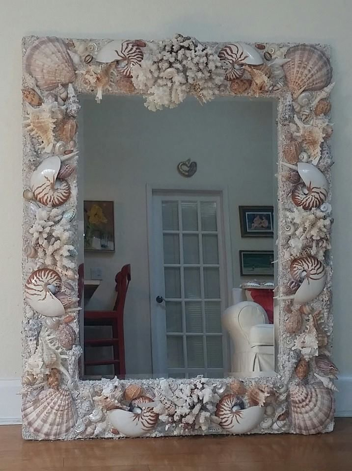 Rectangular Seashell mirror. Custom designs. elegantshells.net ...