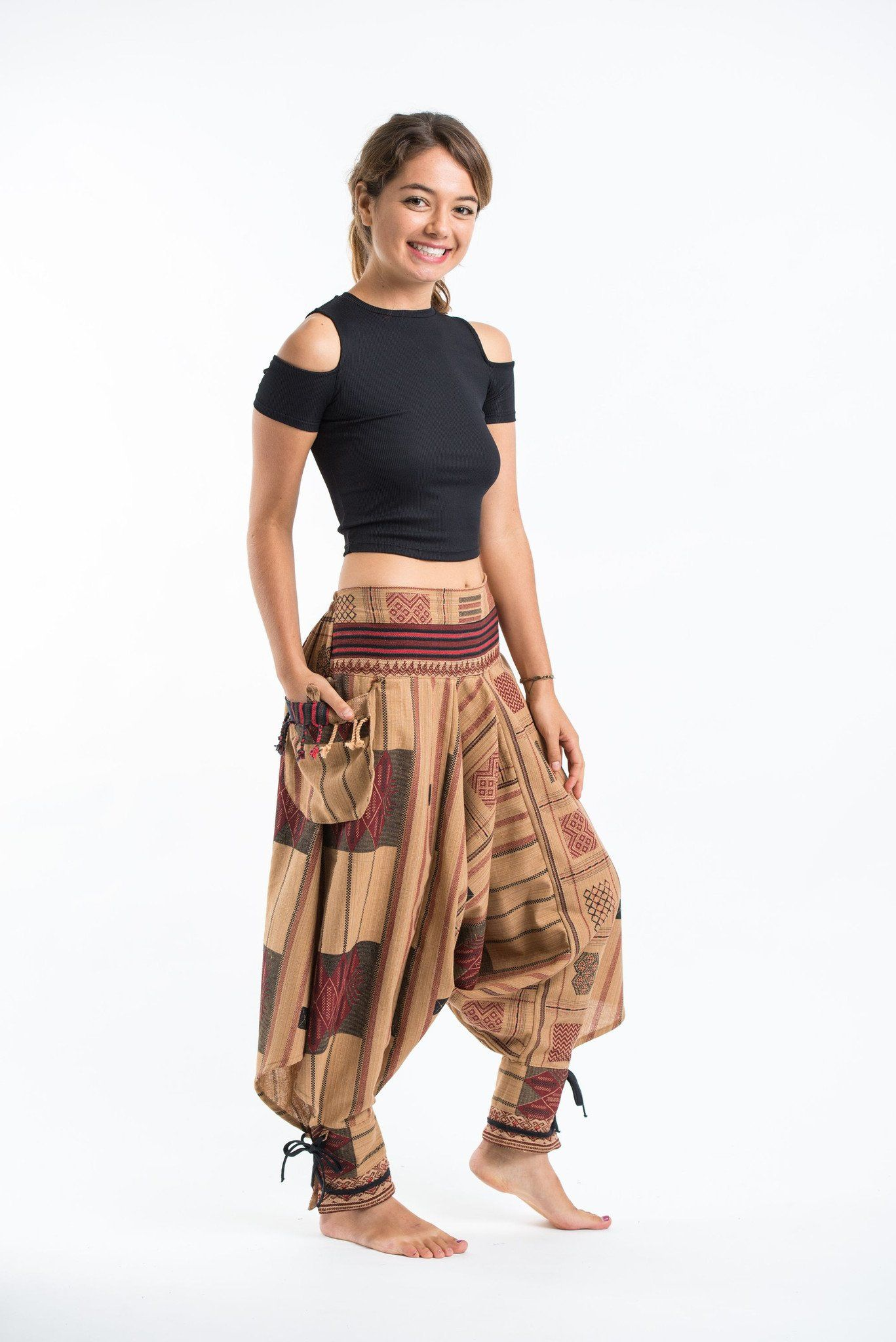 382f9ed2f90 Thai Hill Tribe Fabric Women s Harem Pants with Ankle Straps in Beige