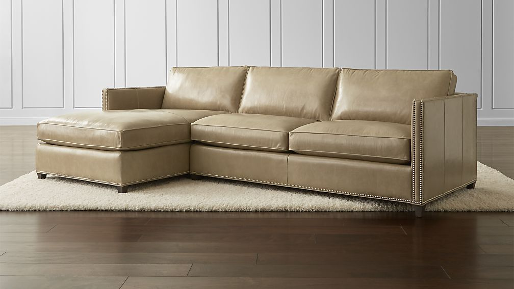 Dryden 2 Piece Leather Sectional With Nailheads Leather Sofa Furniture Best Leather Sofa Sectional Sofa Couch
