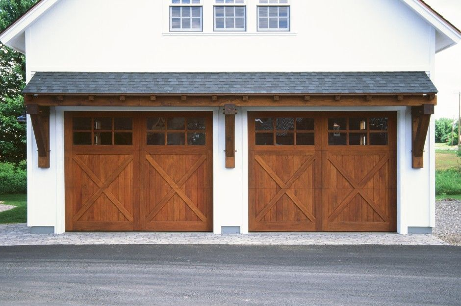 24 Big Sky Timber Frame Eyebrow Roof Over Two 10 X 8 Spanish Cedar Overhead Doors Garage Doors Garage Door Design Barn Style Garage Doors