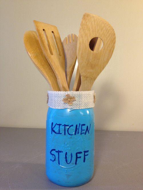 Kitchen Utensil Holder, Redneck Decor, Distressed Mason Jar Decor