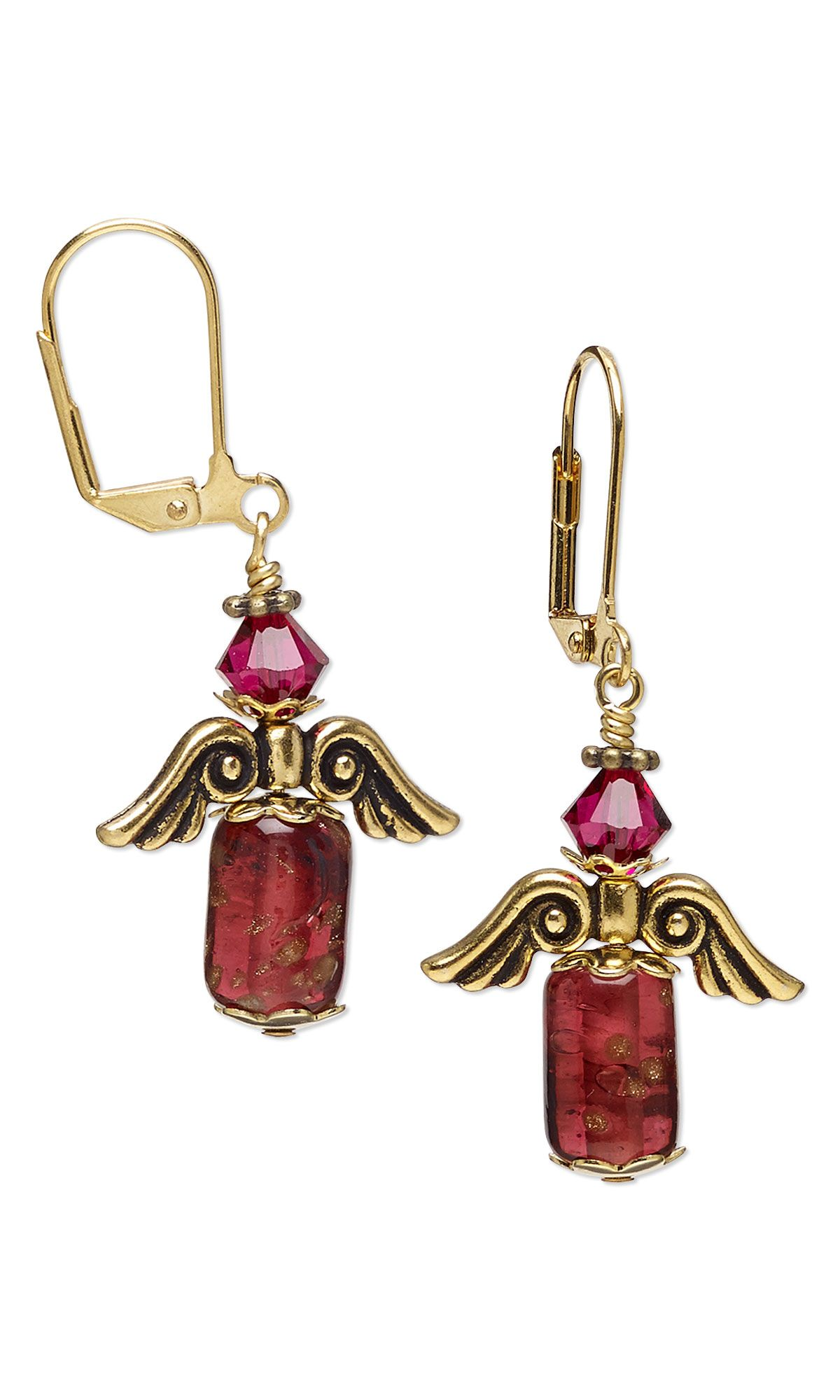 Jewelry Design - Earrings with Glass Beads, Antiqued Gold-Finished Pewter Beads and Swarovski Crystal - Fire Mountain Gems and Beads