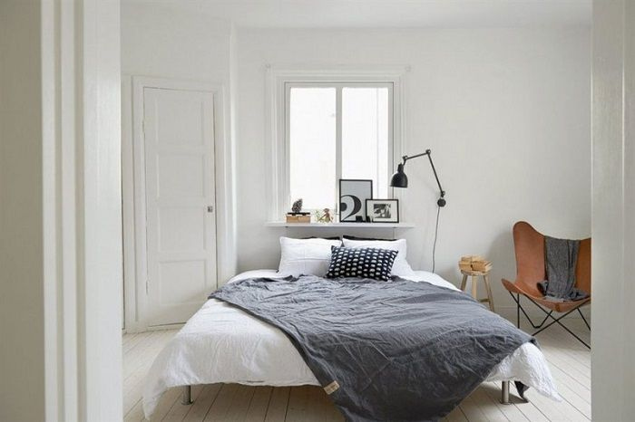 White-Bed-Grey-Cover-Brown-Corner-Chair-Wooden-Floor