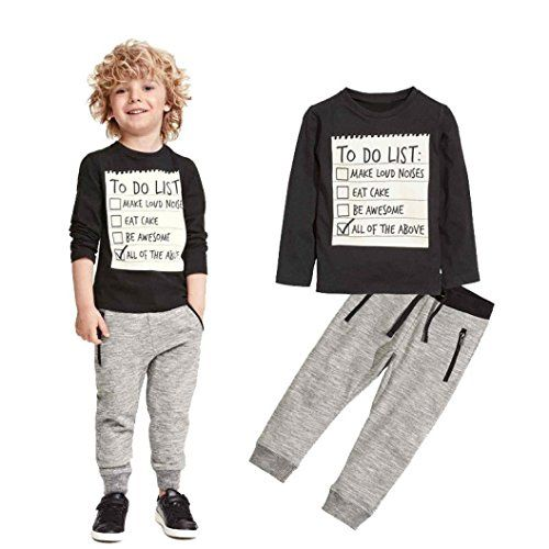 Elevin(TM)Kids Toddler Boys Handsome Black Blouse Tshirt  Gray Casual Pants Outfits (3T)